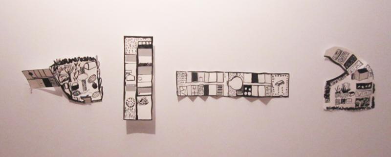 atelier art plastique - 4 dessins-plans 50x30x15 cm -  jardin de Pontanézen, jardin de Keredern, jardin de Kérinou, jardin Kélou-Mad et jardin de Lambézellec