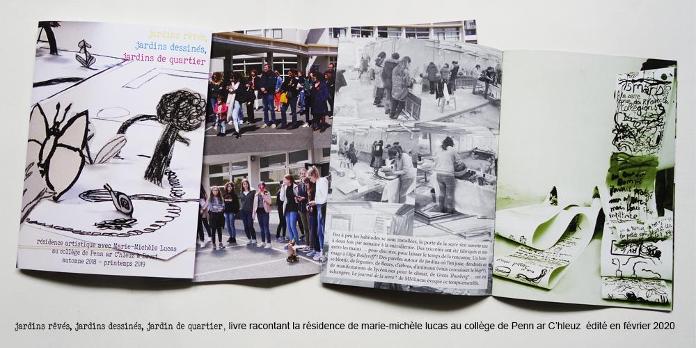 """ateliers artistiques """"jardins rêvés, dessinés, jardins de quartier"""" au collège de Pen ar c'hleus - oct. 2018 à juin 2019"""