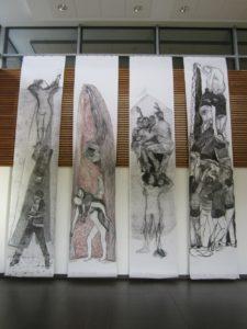 4 dessins sur papier 110 x 600 cm graphes divers